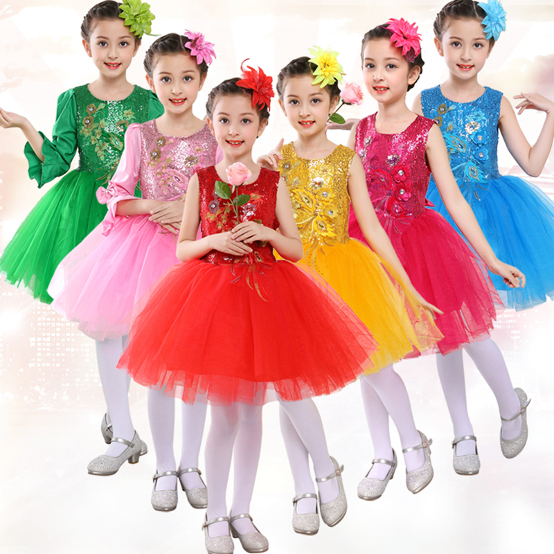 Girl Skirt Dance Performance Clothes Tutu Dress Children Leotard Ballet Jazz Sleeveless Dancewear Competition Practice Dress