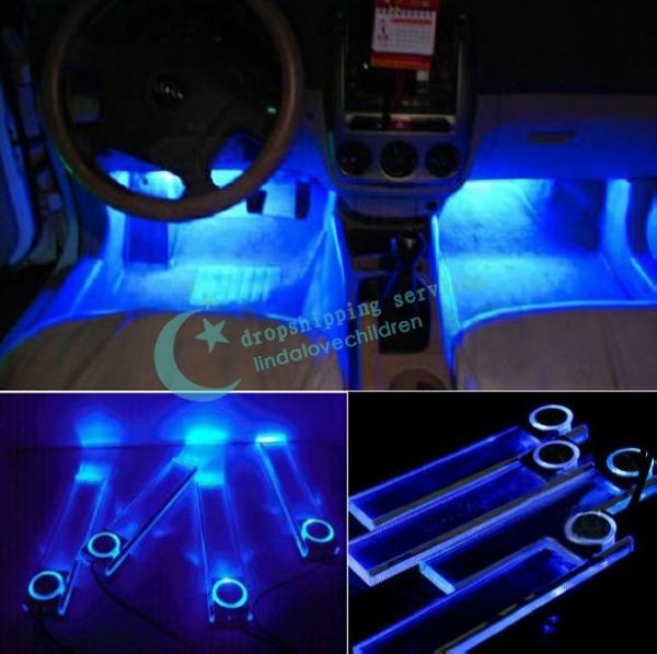 4x Blue Led Car Auto Floor Interior Dash Decorative Light Lamp Cigarette Lighter Drop Shipping Free