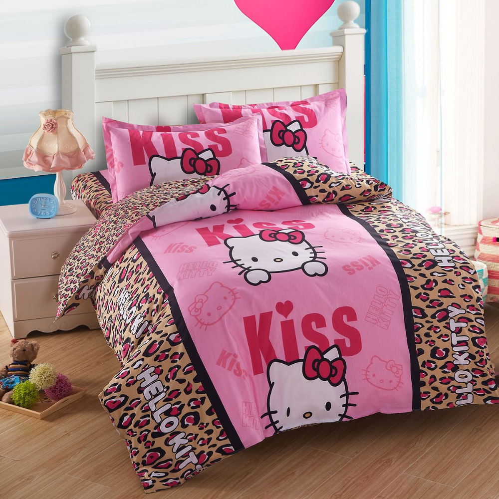 Pink hello kitty bedsheet - Hello Kitty Duvet Cover Leopard Print Bed Sheets Pink Comforter Bedding Sets Juegos De Sabanas Bed Cover Ropa De Cama Bed Set In Bedding Sets From Home