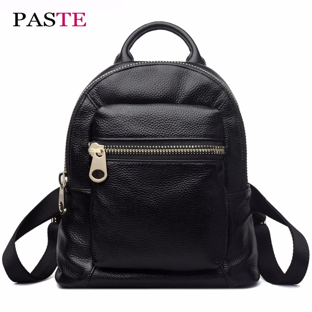PASTE Luxury Genuine Leather Mini Backpack Women Cute Designer Korean Mochila Kanken Black Harajuku School Bag