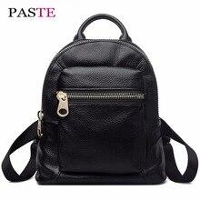 Вставить роскоши натуральная кожа мини-рюкзак женские милые дизайнерские корейский Mochila Kanken черный Harajuku школьная сумка для девочек