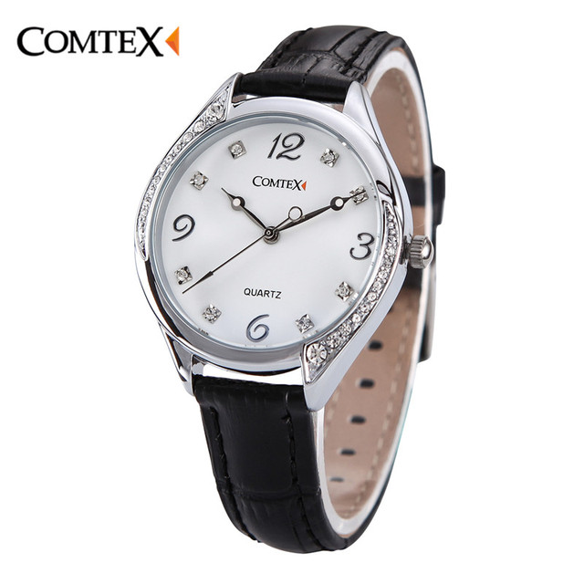 f7635d516 Comtex Women's Watch Black White Leather Strap Girl Watches Lady Wristwatch  Waterproof Quartz Crystal Spring Fashion Clock reloj