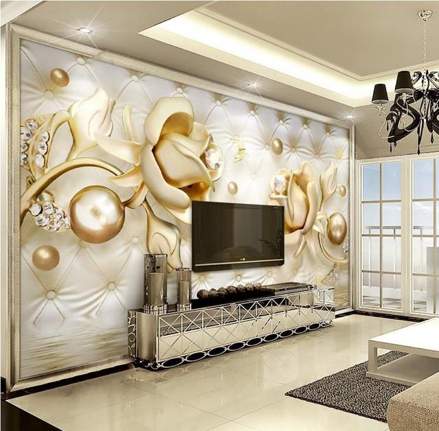 Modern 3d Wallpaper Photo Printing Soft Gold Butterfly Wallpaper