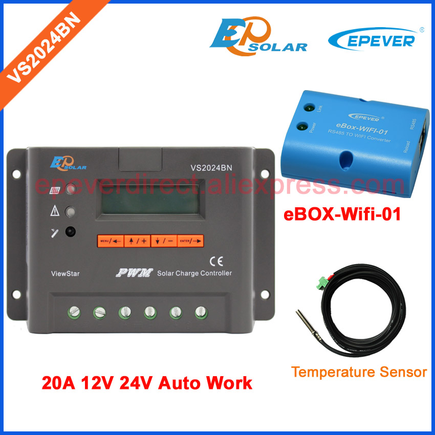 Wifi BOX and temperature sensor VS2024BN 20A 20amp 12V 24V system work solar portable controller lcd display Screen 20a solar power bank charging controller tracer2215bn temperature sensor and bluetooth function 20amp 12v 24v auto work