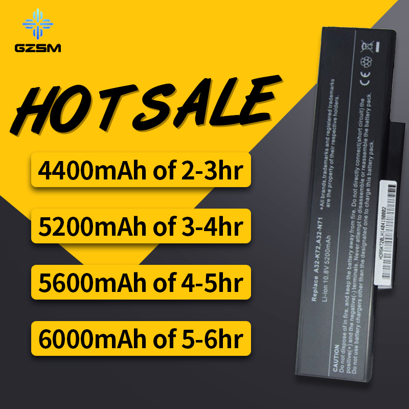 HSW Laptop  Battery For Asus Li-ion  A32-K72 A32-N71 K72DR K72 K72D K72F K72JR K73 K73SV K73S K73E N73SV X77 X77VN K72-100 X77V