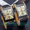 50 unids/lote Winner-1804 Square Dial Ganador Reloj de la Marca Reloj de Los Hombres Frescos de Cuero Negro Reloj Mecánico Wrap Reloj Casual Para Hombres