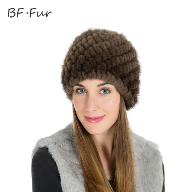 85797d21c8f BFFUR NEW Winter Hat For Women Thread Real Mink Fur Beanies Hat Natural  Color Animal Hat Women Adult Casual Knitting Cotton Cap