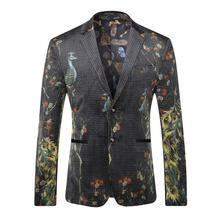 High-grade Casual Jacket Stage Men Blazer Jacket Single Button Mens Suit Jacket 2016 Autumn Printing Coat Male Suite
