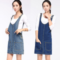 New 2016 Preppy Style Jeans Dress Women Washed Short Suspender Denim Sundress Denim Overall Dress Vestidos Plus Size C408