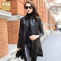 Женские офисные 100% пояса из натуральной кожи пальто бренд Тонкий однобортный ремень Длинные овчины для женщин модные однотонные черны