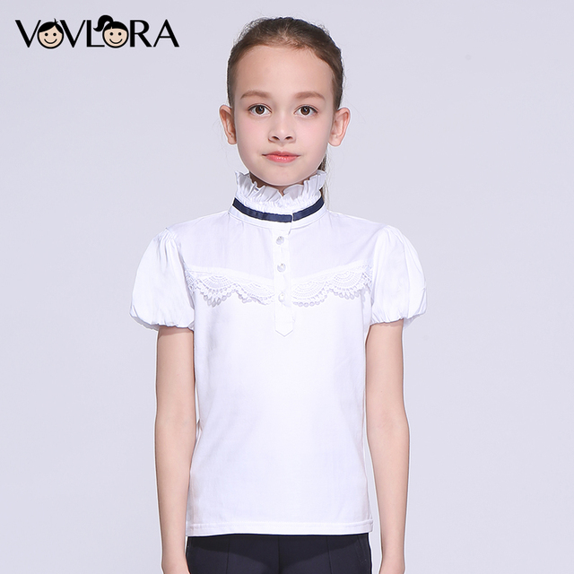 Kids T shirt Cotton Ruffle Lace Girl Tops T-shirts Turtleneck Short Sleeve Summer School Clothes 2018 Size 7 8 9 10 11 12 Years