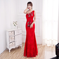Red Modern Chinese Wedding Gowns Traditional Qipao Cheongsam Design Evening Dress One shoulder Dresses Vestido Oriental Qi Pao