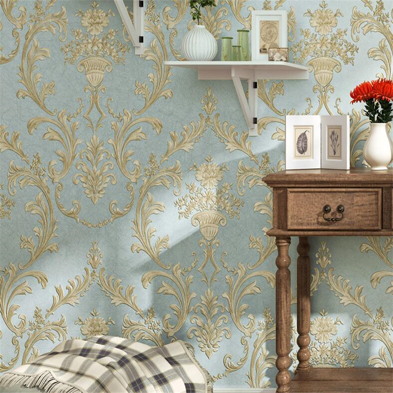 beibehang 3D non - woven wallcovering three - dimensional non - woven Pastoral European bedroom  TV background wallpaper three dimensional analysis of non planar coupled shear walls