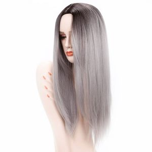 "Luxury For Braiding 26"" Ombre Grey Blonde Brown Straight Hair Ombre Synthetic Wigs for Women Heat Resistant Fiber Cosplay Wig"
