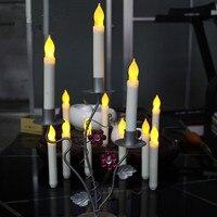 12 adet Klasik Simülasyon Mum Daldırma LED Konik Mumlar Beyaz LED Konik Mum Düğün için Harika ve Tatil