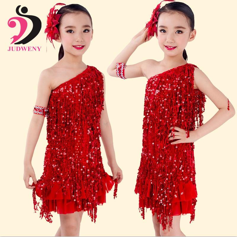 Lotynų Amerikos šokių suknelė Flamengo Flapper Salsa Tasseled Vaikiškų šokių apranga Kostiumas Vestidos Kambarys Samba Karnavalas Gatsby suknelė