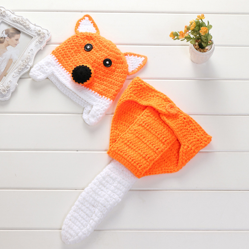Newborn Photography Props Baby Fox Crochet Caps With Tails Infant Pictures Costumes Hat Outfit Photo Fotografia Fine Quality Boys' Baby Clothing