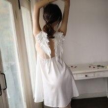 Nowe ekskluzywne skrzydła anioła pończoch Sexy śpiące koszule nocne koronkowa bielizna nocna koszule nocne dla kobiet satynowa sukienka wieczorowa bielizna nocna