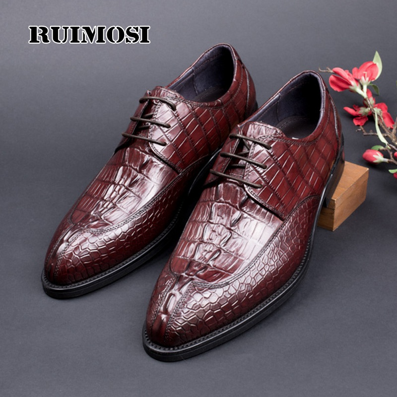 RUIMOSI Alligator Man Derby Wedding Shoes Genuine Leather Formal Dress Party Oxfords Luxury Brand Men's Bridal Footwear HJ41