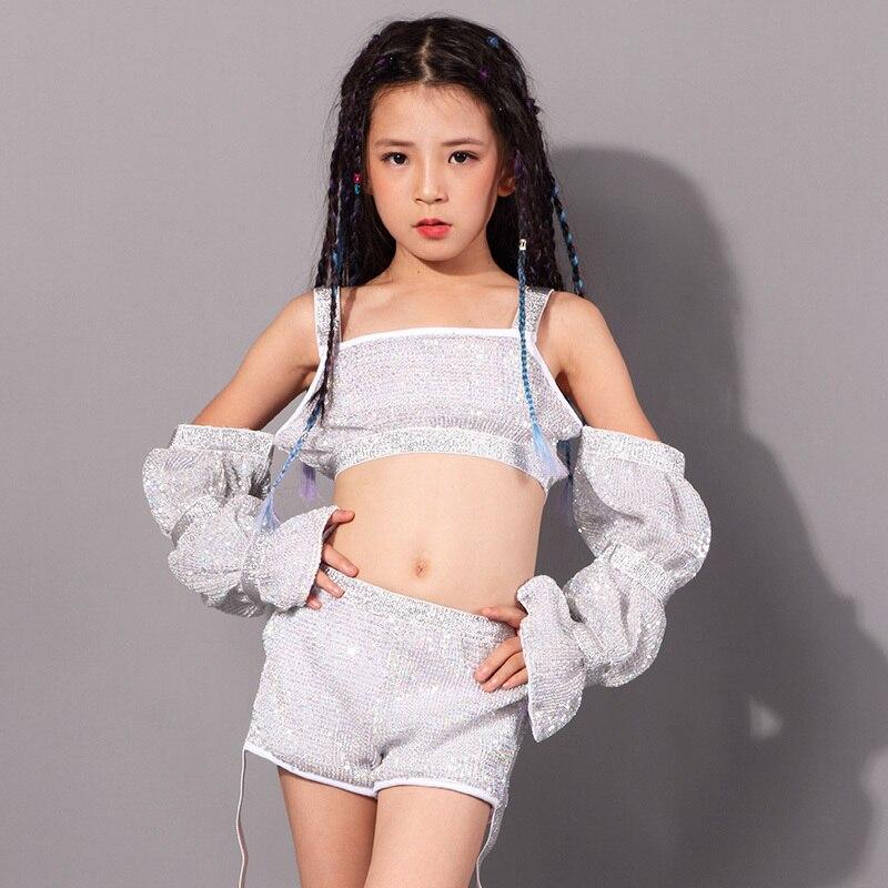 Kid Jazz Dance Costume Girls Silver Sequins Hiphop Dance Practice Clothes Children'S Day Catwalk/Dance Performance Outfit DQL327