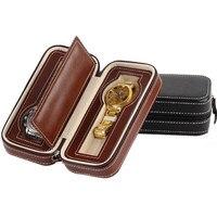 새로운 2 슬롯 pu 가죽 소재 브랜드 시계 상자 탑 브라운 시계 디스플레이 가방 시계 스토리지 박스 선물 케이스 c015