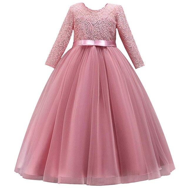長袖フラワーガールのドレス初聖体ドレス女塩漬け糸誕生日ドレスパーティーイブニングドレス