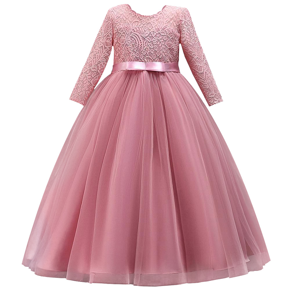 Long Sleeves Flower Girl Dresses For Weddings Lace First Communion Dresses Girl Salted Yarn Birthday Dress Party Evening Dress