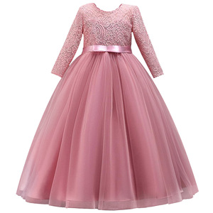 Image 1 - Long Sleeves Flower Girl Dresses For Weddings Lace First Communion Dresses Girl salted yarn Birthday Dress Party evening dress