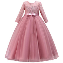 Mangas compridas vestidos da menina de flor para casamentos rendas primeira comunhão vestidos menina fio salgado vestido de aniversário festa vestido de noite