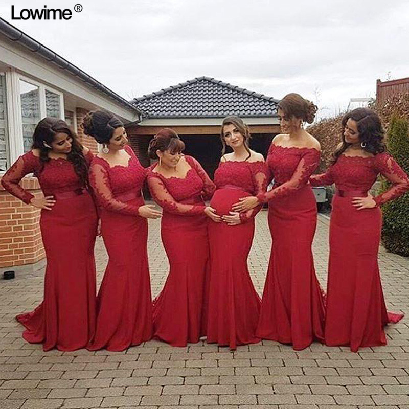 US $101.14 15% OFF|Plus Size Red Lace Bridesmaid Dresses Mermaid Long  Sleeves Sweep Train Wedding Guest Gowns Formal Prom Party Gowns Beach  Custom-in ...