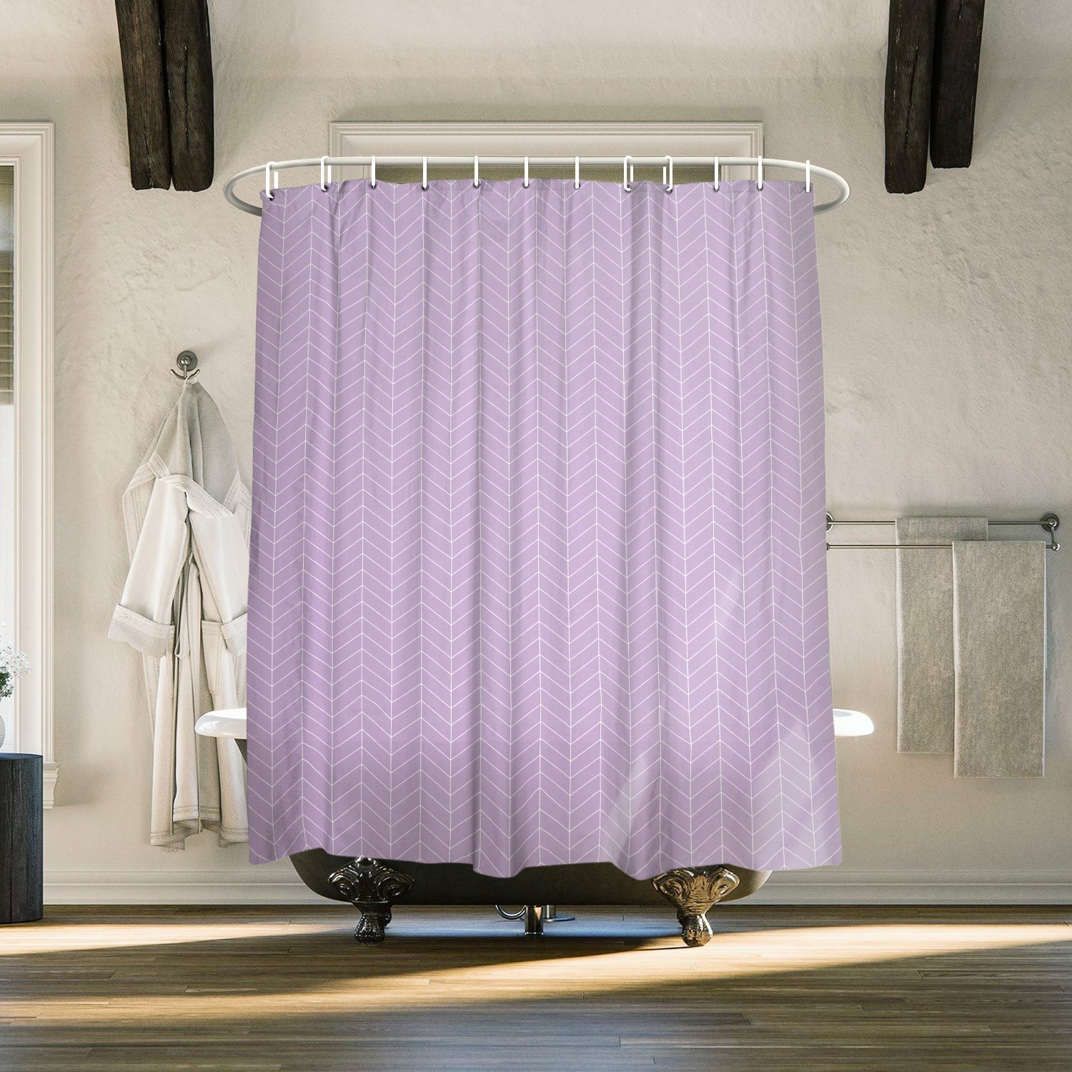 Us 18 6 31 Off Grey Stripe Natural Herringbone 84 Inch Extra Long Shower Curtains Fabric Polyester Bathroom With Hooks In