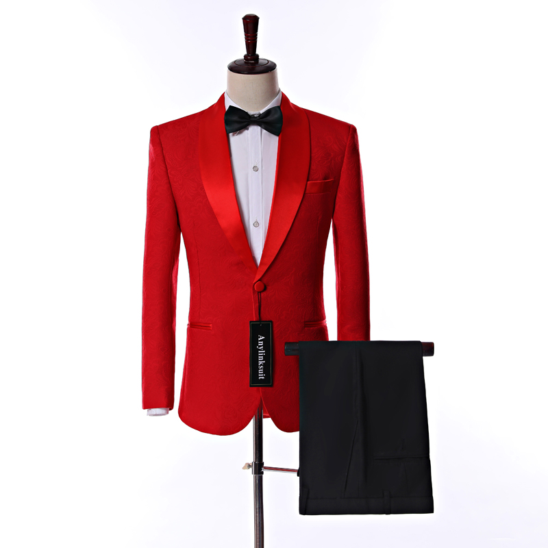 Real Photo One Button Red Paisley Shawl Collar Men Prom Party Dress Business Suits (Jacket+Trousers+BowTie)
