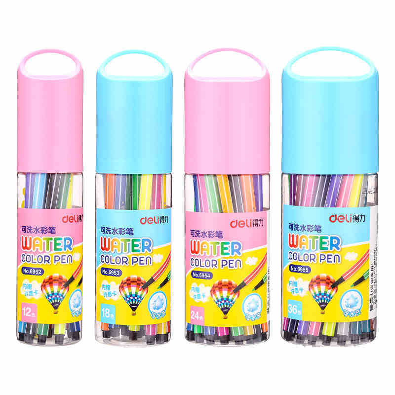 Deli 12/18/24/36 Colors Washable colored Pen painting Markers artist Drawing set student Art Supplies highlights watercolor pens 12 18 24 30 colors set germany stabilo 280 washable drawing painting pen colored markerpen highlighter pen students art painting