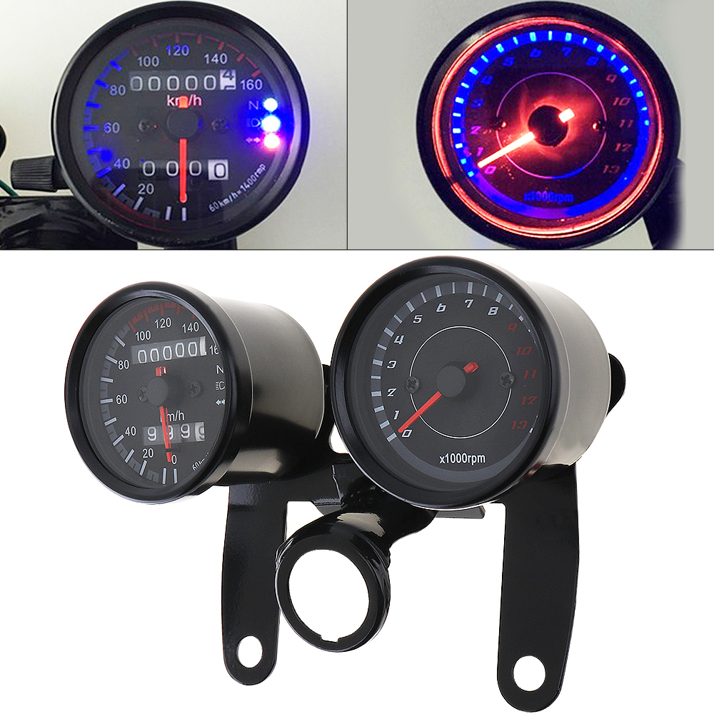 Motocicleta Universal Odômetro Velocímetro Medidor 0 ~ 160 kmh 13000 Instrumento Tacômetro RPM LED Backlight Conjunto Preto