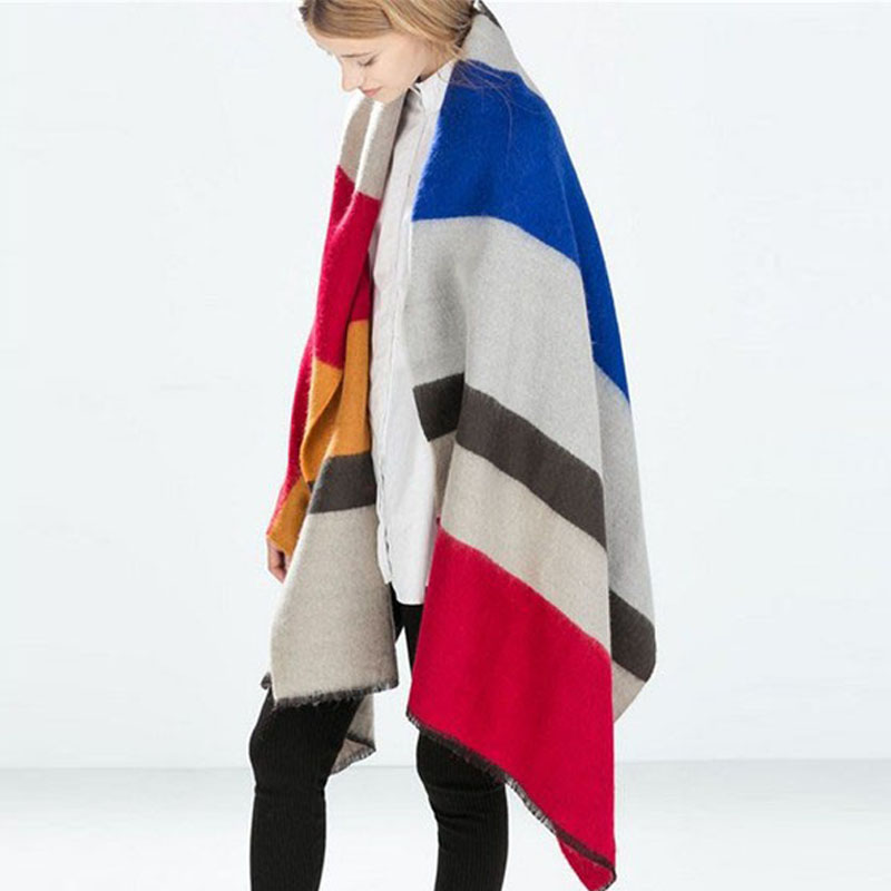 New 2017 Winter new Design Scarf Spain Fhicker Stripes oversized Cashmere Scarf Woman Sc ...