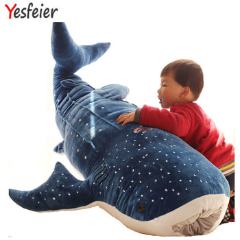 50/100 cm nowy styl niebieski Shark zabawki pluszowe gruba ryba tkaniny lalka wieloryb pluszowe zwierzaki lalki prezent urodzinowy dla dzieci