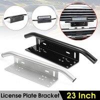 Black Bull Bar Front Bumper License Plate Mount Bracket Holder Offroad Light Bar