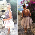 2016 New Summer Sexy Short Lavender Beaded Applique Tulle Ball Gown Women Special occasion Cocktail Party Dress robe de cocktail