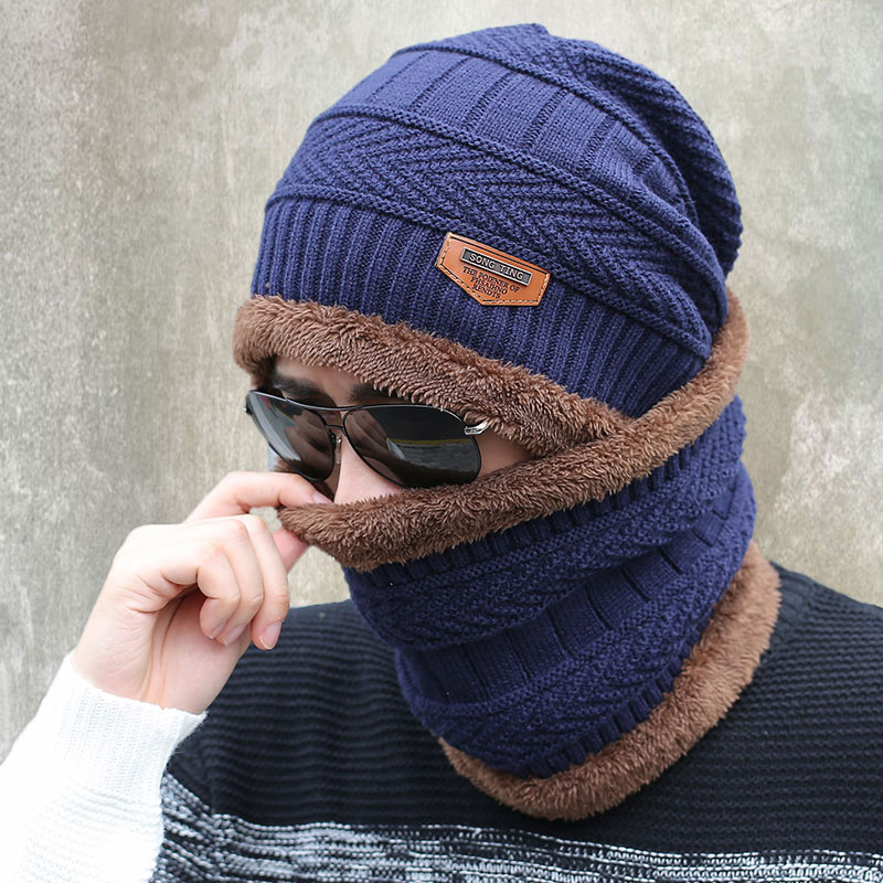 2017 New Knitted Winter Hat Scarf Beanies Knit Men's Winter Hats Caps Skullies Bonnet For Men Women Beanie Casual Neck Warmer