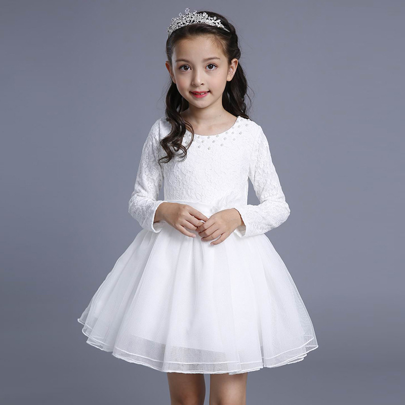 Children Girls Dress Spring Autumn Kids Children Party Wedding Long Sleeve Princess Ball Gown Girl Dress 4 6 8 10 12 13 Years children s spring and autumn girls bow plaid child children s cotton long sleeved dress baby girl clothes 2 3 4 5 6 7 years