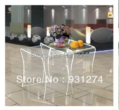 (2 pieces / lot ) ONE LUX Acrylic Nesting Coffee Table, Wholesale And Retail Lucite Living Room Furniture Luxury Tea Table one lux waterfall acrylic lucite lounge sofa table plexiglass waiting room magazine side coffee corner tables