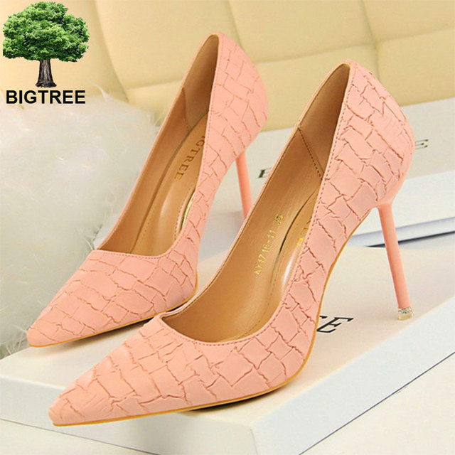 BIGTREE New Classic Stone Pattern Thin Heels Shoes Pointed Toe Shallow  Women Pumps Pu Leather Women 4862f2912182