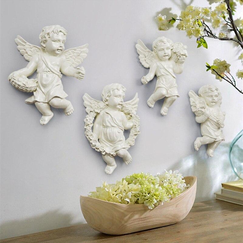 Bonita estatua de Ángel Cupid fondo de pared 3D escultura Mural decoración de pared para sala de estar decoración colgante 4 unids/set R144 - 3