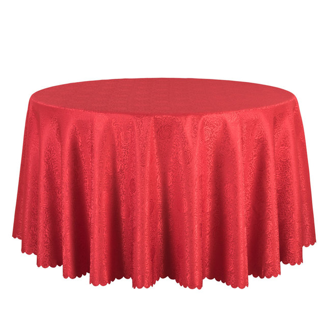 Good 10PCS Hotel Wedding Table Cloths Polyester Jacquard Dining Table Linen  Round Tablecloth Decor White Gold Red