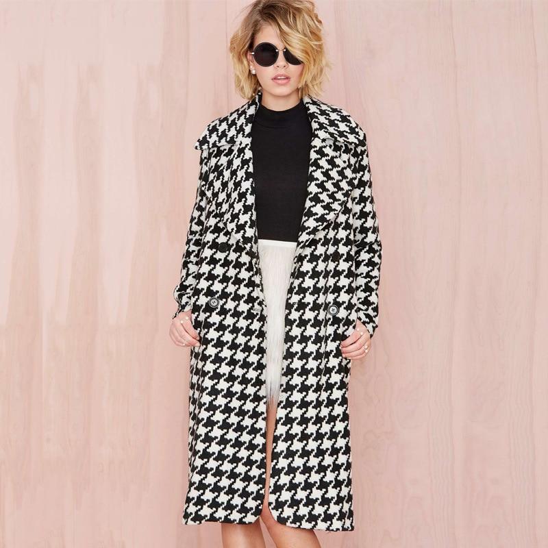 Women's Turn-Down Collar Striped Wool Coat