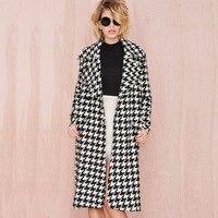 2016 Europea Winter Women Wool Blends Plaid Coat Femal Turn Down Striped Printed Mid Long Loose
