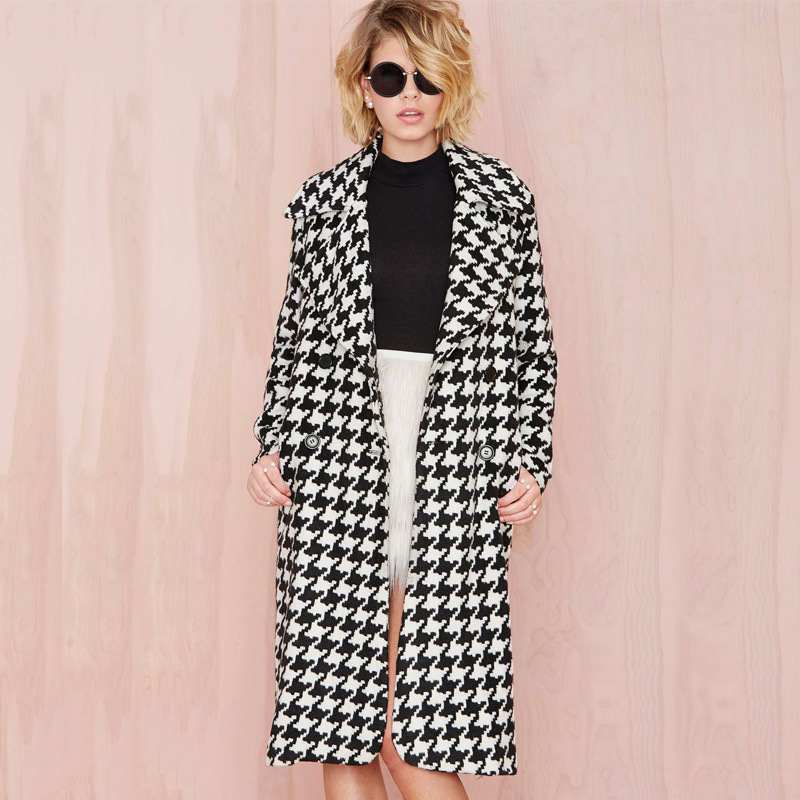 Europea Spring Winter Women Wool Blends Plaid Coat Femal Thick Turn Down Striped Printed Long Loose
