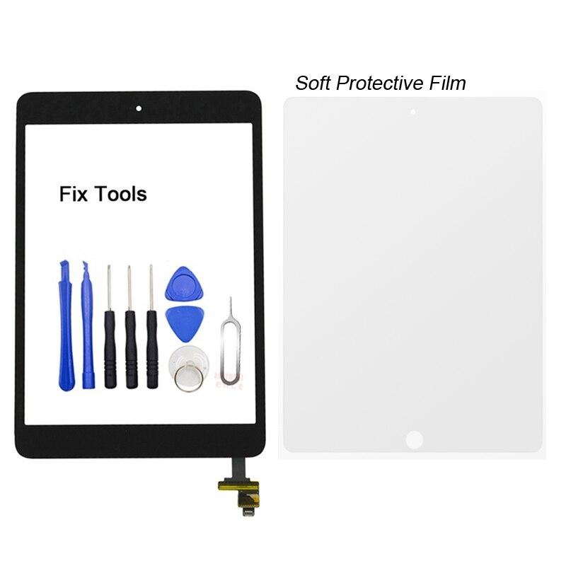 купить 1Pcs Digitizer Touch Screen Outer Panel For Apple iPad mini 1 mini1 A1432 A1454 A1455 Front Glass Lens+Button+IC+Tools+Film по цене 360.99 рублей