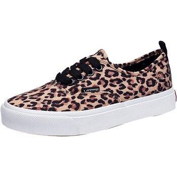 Vulcanized Shoes Sneakers Ladies Lace Up Canvas Shoes Autumn Mesh Leopard Casual Walking Platform Studetn Slinge Shoe римские сандали