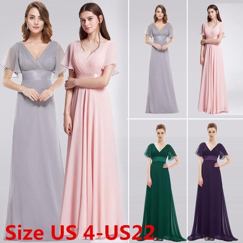 Purple Plus Size Bridesmaid Dresses Long 2018 A Line V Neck Short